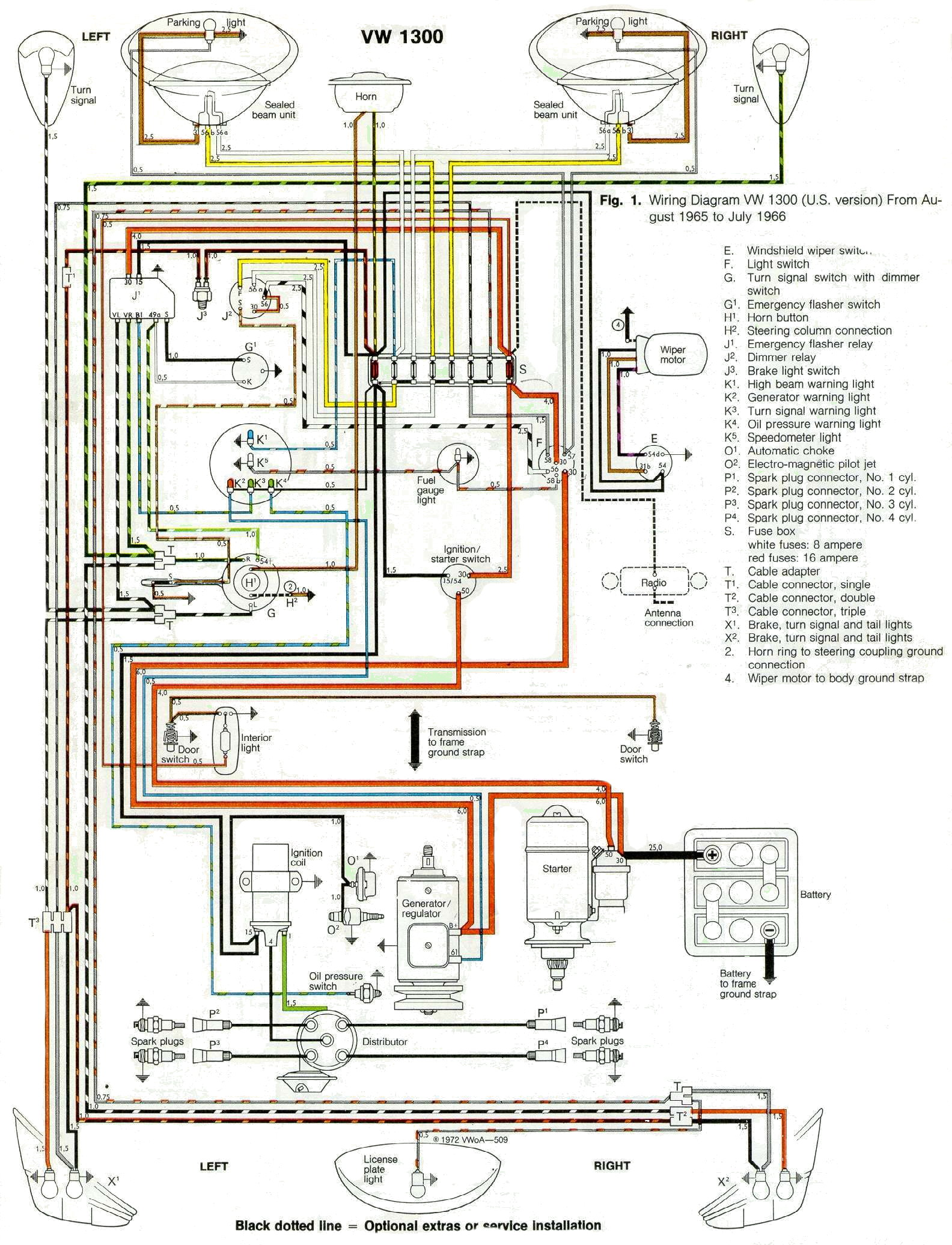 Vw Wiring Harness Diagram Guide And Troubleshooting Of Jetta Door 1966 Rh 1966vwbeetle Com 2001 Passat 2006
